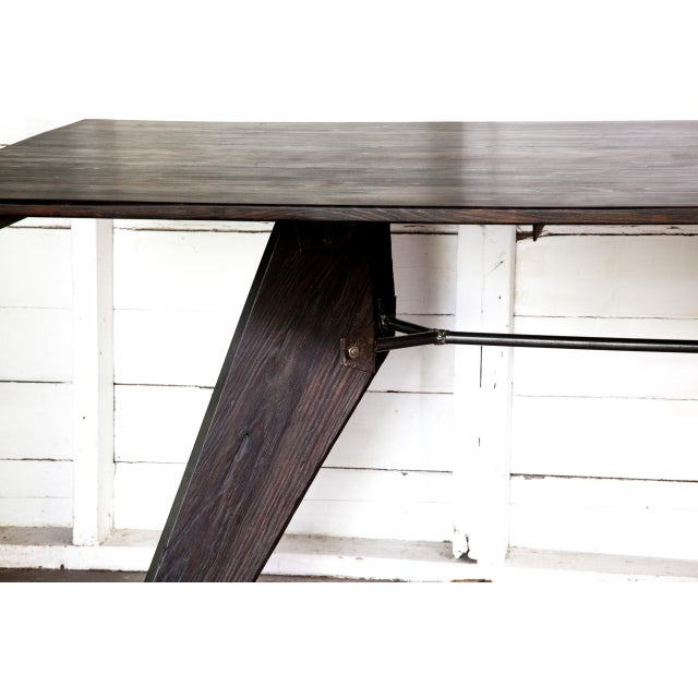 """Metal Prouve Style Artisan Made Em Solvay Black Dining Conference Table - Black Brown 80"""" For Sale - Image 7 of 11"""