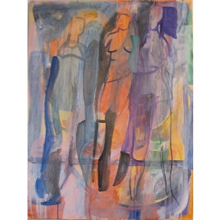 Abstract Painting by Andrew Portwood, Walkers on the Park For Sale
