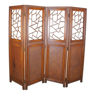 Boho Chic Modern Rattan Wood Four Panel Folding Screen Room Divider For Sale