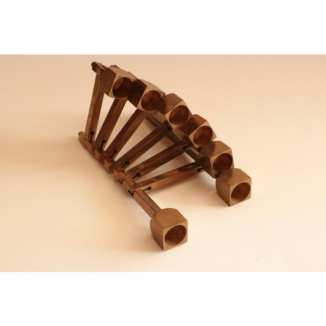 Articulated Brass Candleholder For Sale - Image 9 of 9