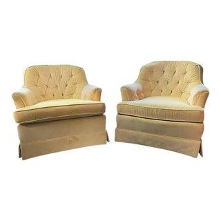 Mid-Century Drexel Tufted Velvet Club Chairs- a Pair