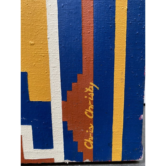 Abstract 1970s Aztec Pattern Oil Painting For Sale - Image 3 of 4