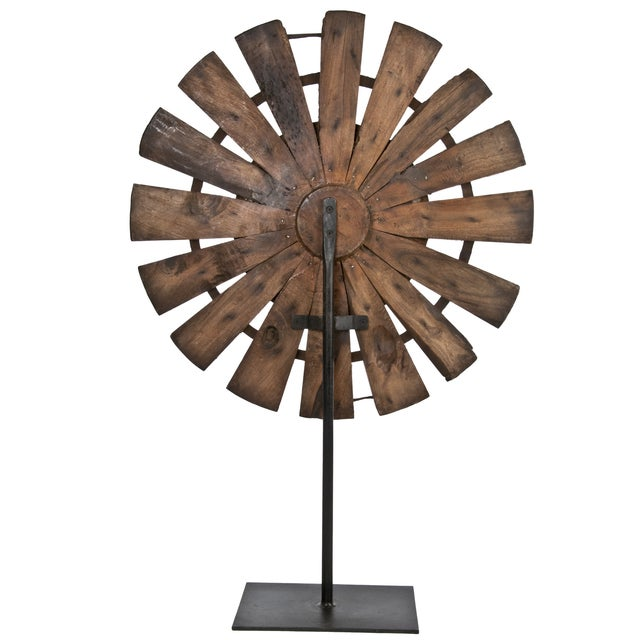 Vintage Wood Loom Wheel on Recycled Iron Stand - Image 3 of 3