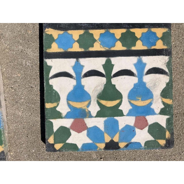 Moroccan Encaustic Cement Tile Border with Moorish Fez Design For Sale - Image 12 of 13