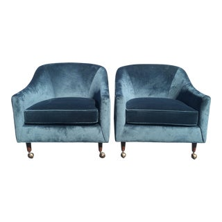 1960's Mid-Century Modern Blue Velvet Armchairs - a Pair For Sale