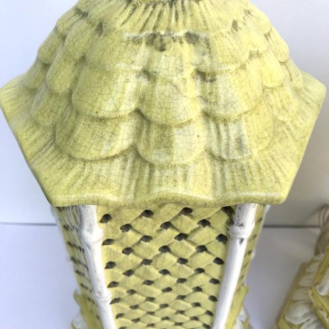 Nardini Studio Pagoda Faux Bamboo Lamps - a Pair - Image 2 of 3