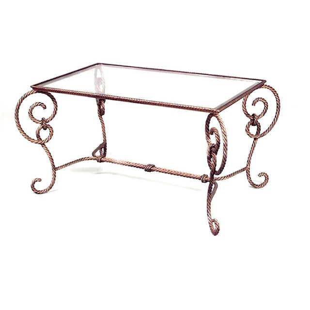 Modern Art Moderne Rope and Tassel Design Gilt Metal Coffee Table For Sale - Image 3 of 3