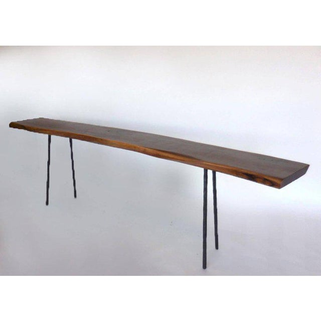 Dos Gallos Studio Black Walnut Console With Iron Legs For Sale - Image 4 of 9