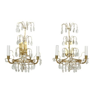 Pair of Swedish Crystal and Brass Sconces For Sale