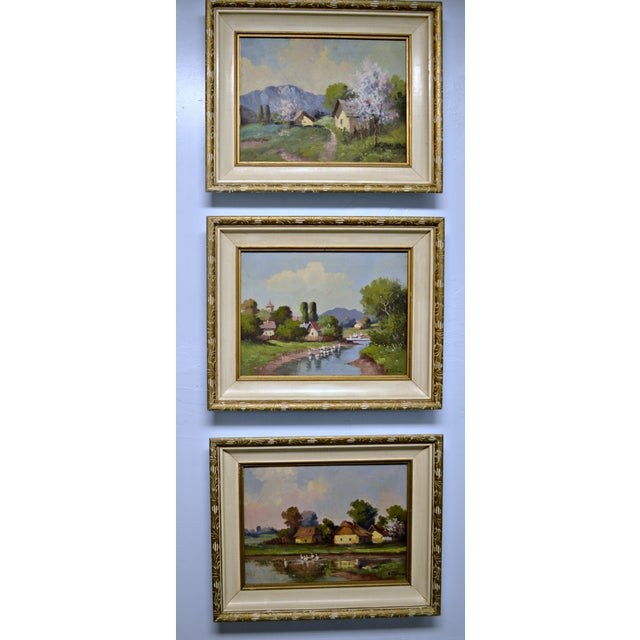 1950's Framed Canvas Triptych - Image 2 of 8