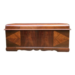 Antique 1930's Lane Art Deco Walnut & Mahogany Cedar Chest