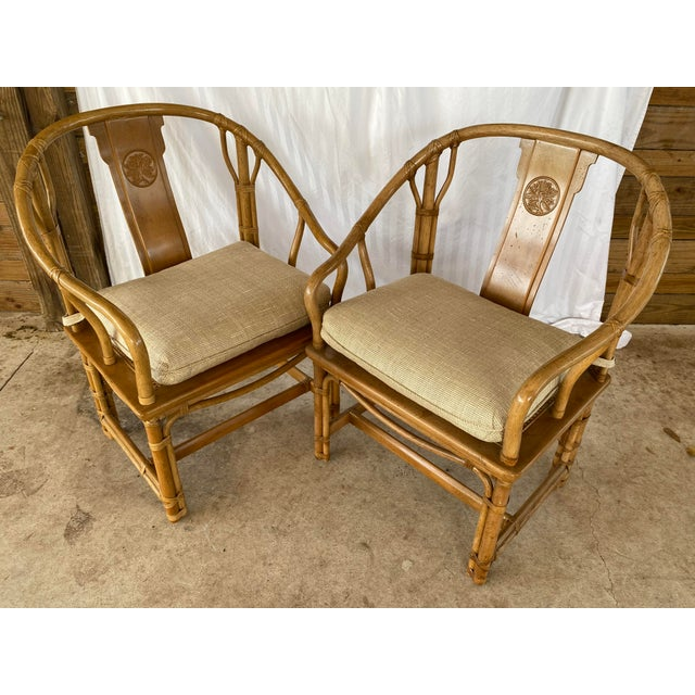 Henredon Ming Rattan Chairs - a Pair For Sale - Image 11 of 13