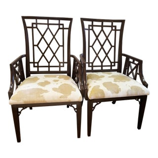 Lacquered Chippendale Style Armchairs - a Pair