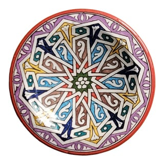 Moroccan Hand Painted Pottery Multi-Color 9 Plate For Sale