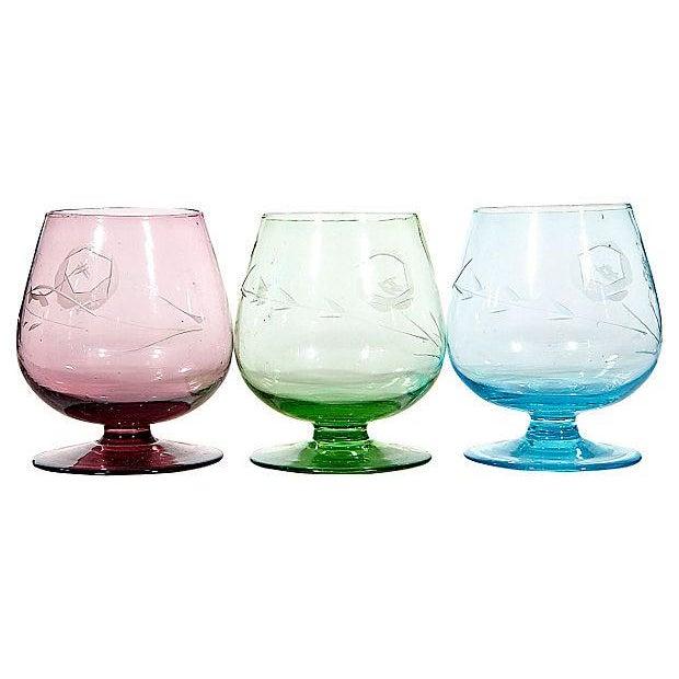 Multicolor Floral Etched Shot Glasses - Set of - Image 3 of 3