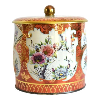 Vintage English Chinoiserie Tea Tin For Sale