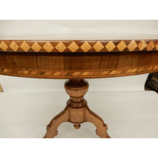 19th C. Italian Inlaid Walnut Center Hall Table For Sale - Image 4 of 7
