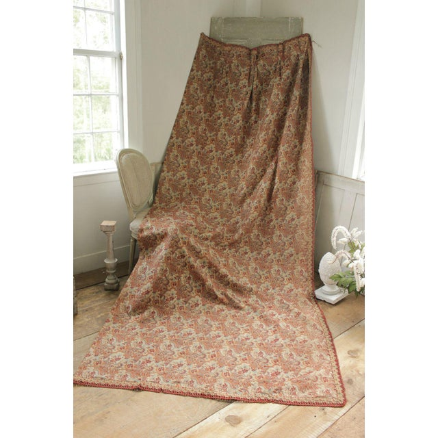 Antique 1885 French Art & Crafts Woven Jacquard Bed Curtain Fabric For Sale - Image 10 of 10