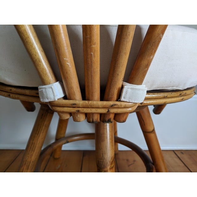 Swivel Bamboo Armchairs - Set of 4 For Sale - Image 10 of 13