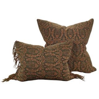 20th Century English Traditional Kashmir Wool Pillows - a Pair For Sale