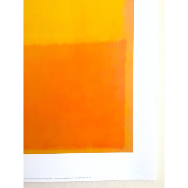 """Paper Mark Rothko Vintage 1990's Abstract Expressionist Lithograph Print Poster """" Orange and Yellow """" 1956 For Sale - Image 7 of 10"""
