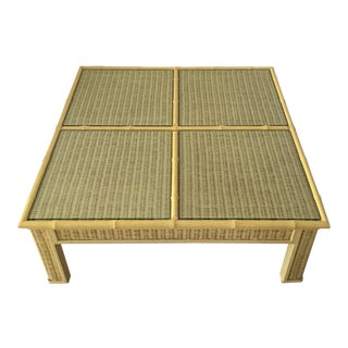 Vintage Yellow Bamboo Coffee Table
