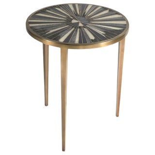 Sunburst Side Table in Shagreen, Shell and Bronze-Patina Brass by R&y Augousti For Sale