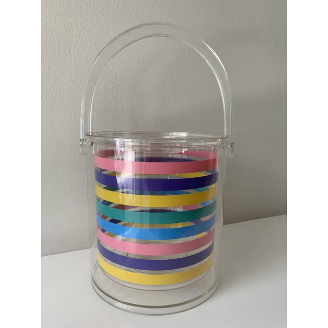 Plastic 1980s Striped Ice Bucket For Sale - Image 7 of 11