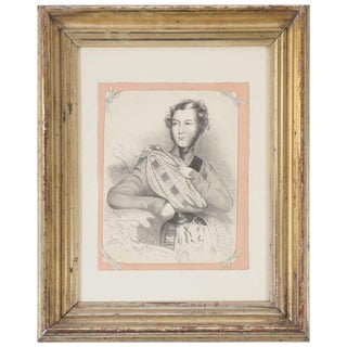 William IV Period Charcoal on Paper Drawing of a Scottish Dandy For Sale