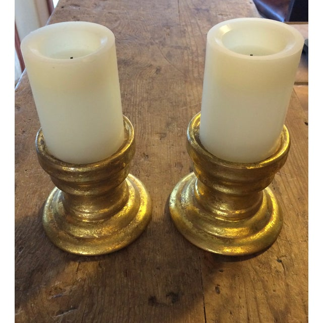 Gold Leaf Ceramic Candle Holders -Pair - Image 2 of 7