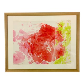 1980s Original Myra Kyle Abstract Psychedelic Watercolor Painting For Sale