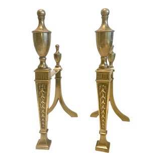 19th Century Antique Neoclassical Brass Fireplace Andirons - a Pair For Sale