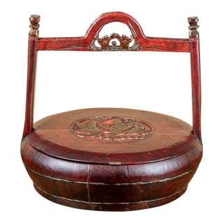 Antique Lacquered Chinese Elm Wood Rice Containers From Lillian August For Sale