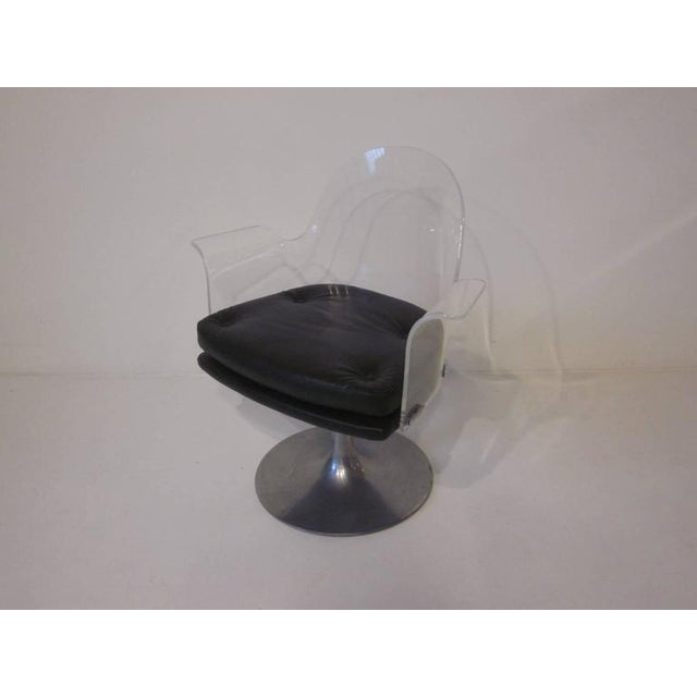 Lucite Vladimir Kagan Styled Lucite Upholstered Swivel Chair For Sale - Image 7 of 7