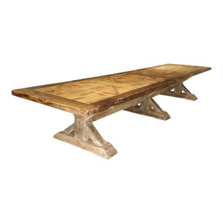 16 Foot Long Oak Parquet Top Dining Table From France For Sale