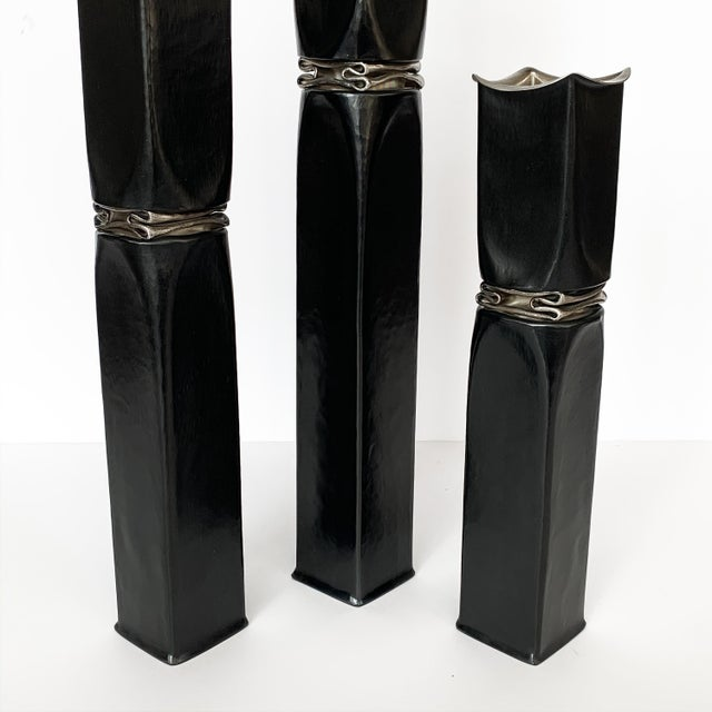 Thomas Roy Markusen Brutalist Candle Holders / Vases - Set of 3 For Sale - Image 9 of 13