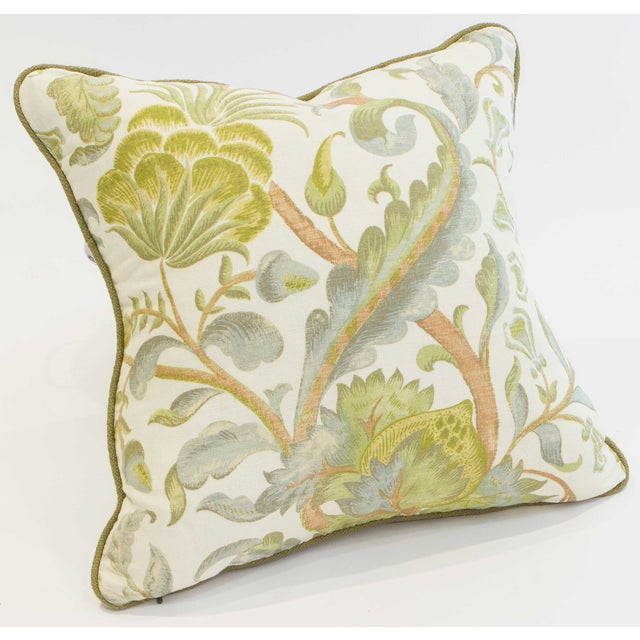 Floral Duck Egg Pillows - a Pair For Sale - Image 4 of 6