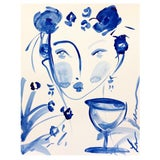 Image of Flowers and Wine in Indigo by Leslie Weaver For Sale