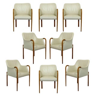 Contemporary Modern Set 8 Giorgetti Progetti Italian Wood Dining Armchairs 1990s For Sale
