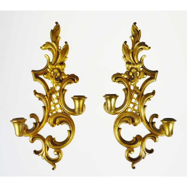 Vintage Syroco Wood Gold Gilt French Rococo Style Candle Wall ...
