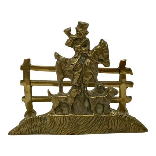 Brass Hunting Scene Business Card Holder For Sale