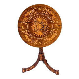 19th Century Dutch Marquetry Inlaid Tilt Top Table For Sale