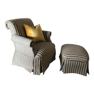 Wesley Hall Arm Chair & Ottoman For Sale