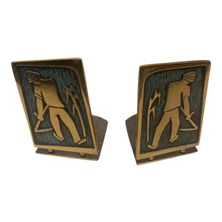 Vintage Gold Tone Asian Bookends - a Pair For Sale