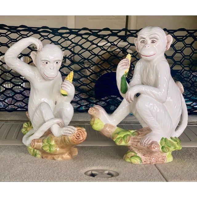 Vintage White Italian Ceramic Monkeys - a Pair For Sale - Image 13 of 13