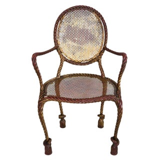 1950's Vintage Italian Gilt Iron Faux Rope Louis XVI Chair For Sale