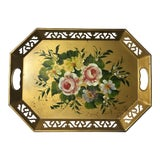 Image of Vintage Tole Ware Gold Hand Painted Flowers Pierced Lattice Edge Tray For Sale