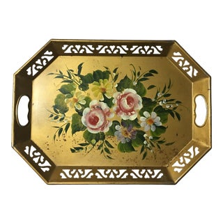 Vintage Tole Ware Gold Hand Painted Flowers Pierced Lattice Edge Tray For Sale