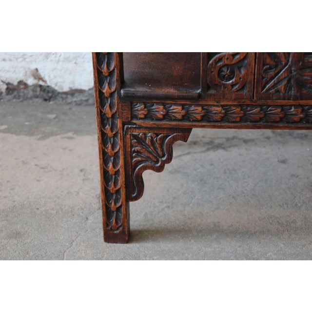 19th Century English Ornate Carved Oak Sideboard Bar Cabinet For Sale - Image 12 of 13