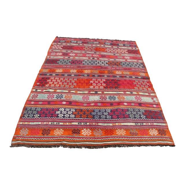 Vintage Turkish Kilim Rug - 4′11″ × 7′10″ For Sale